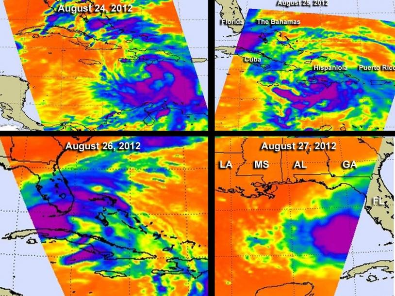 Données infrarouge obtenues par le satellite Aqua.