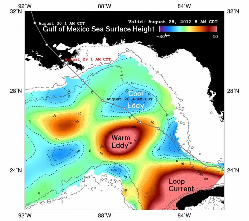 Hauteur des eaux dans le Golfe du Mexique pendant le passage d'Isaac